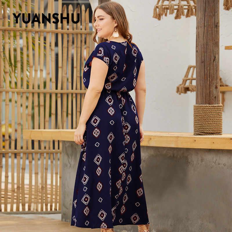 YUANSHU XL-4XL Plus rozmiar artystyczny nadruk długa sukienka kobiety O wysoki dekolt w talii sukienka oversize przyjęcie świąteczne w dużych rozmiarach