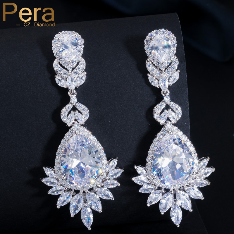 Pera CZ Brand Luxury Silver Color Big Water Drop AAA + Cubic Zirconia Stone Long Wedding Costume Jewelry Pendientes para novias E002