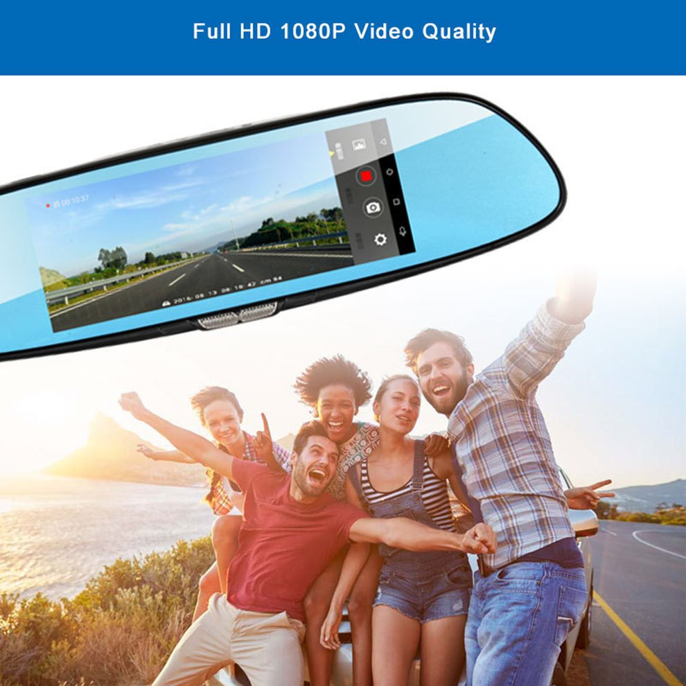 H10 Car DVR 3G Rearview Mirror Video Recorder 7 inch Touch Screen 1080 FHD Dual Camera Hand free FM Transmission - 5