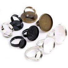12 мм 20 мм 25 мм 10 шт черные посеребренные Регулируемые настройки кольца пустые/Базовые, подходят для стеклянных кабошонов 12/20/25 мм; Кольцевые ...