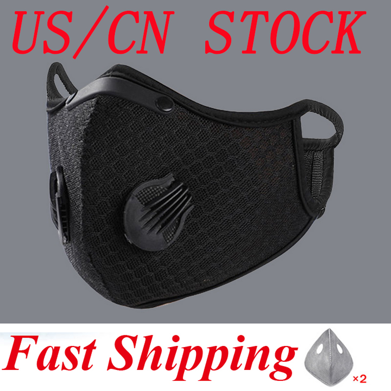 US/CN STOCK! Pm2.5 Breathable Cycling Face Mask Black Sport Training Respirator Face Mask With Activated Carbon 3pc Filters