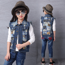 Girls Vests 2019 New Autumn Children Pictures Print Pocket  Jeans Clothings For 3 4 7 9 15 Years Denim vest fashion