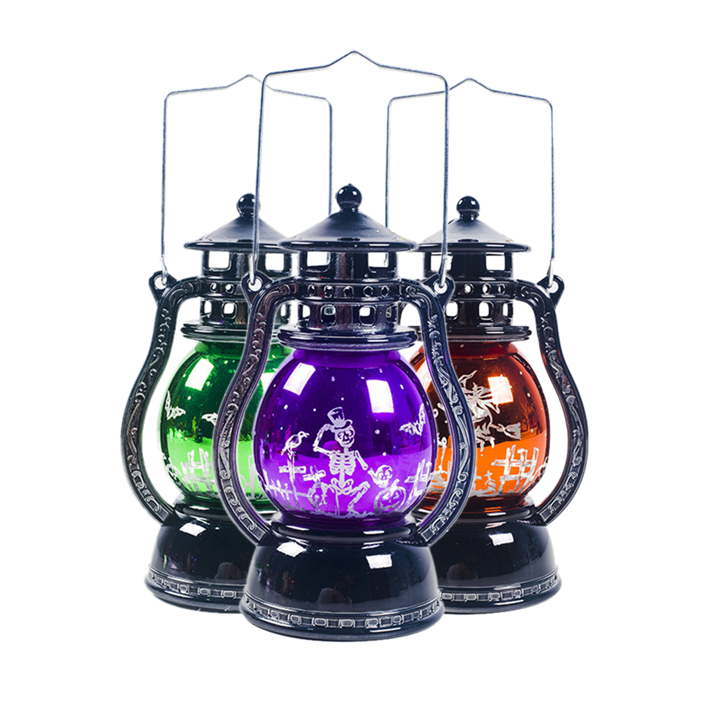 Halloween Retro LED Lantern Night Light Lamp Hanging Christmas holiday party decoration Candlelight Light Home Party Decoration-4