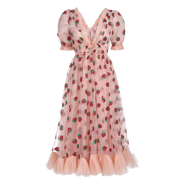 Stock 2021 Strawberry Dress Women Fashion Deep V Pleated Puff Sleeve Sweet Voile Mesh Sequins Embroidery French Party Dresses 2