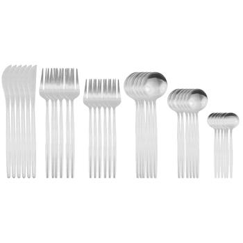 36Pcs Matte Stainless Steel Cutlery Set Dinnerware Gold Knife Fork Dessert Spoon Silverware Kitchen Party Dinner Tableware - China, Silver