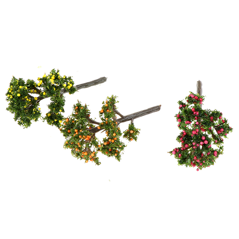 New 3styles DIY Resin Crafts Fruit Trees For Garden Ornament Dollhouse Plants Home Decoration Furniture Toy Accessories