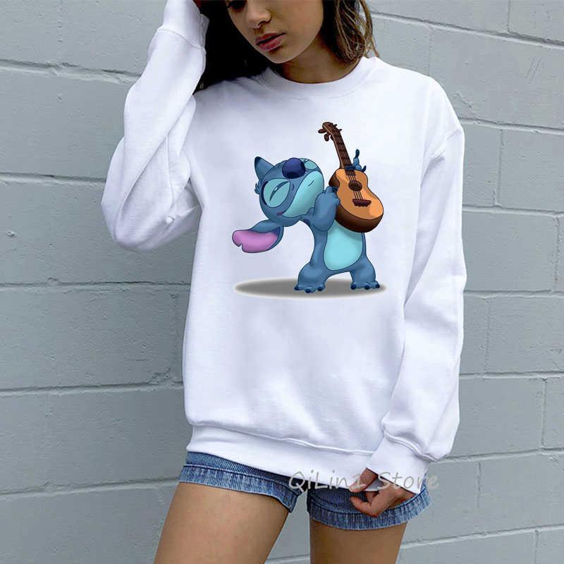 Lucu Lilo dan Stitch Cetak Lucu Sweatshirt Wanita Hoodie Harajuku Kawaii Kebesaran Hoodie Pakaian Latihan Yg Hangat Hoody WANITA Musim Gugur Pakaian