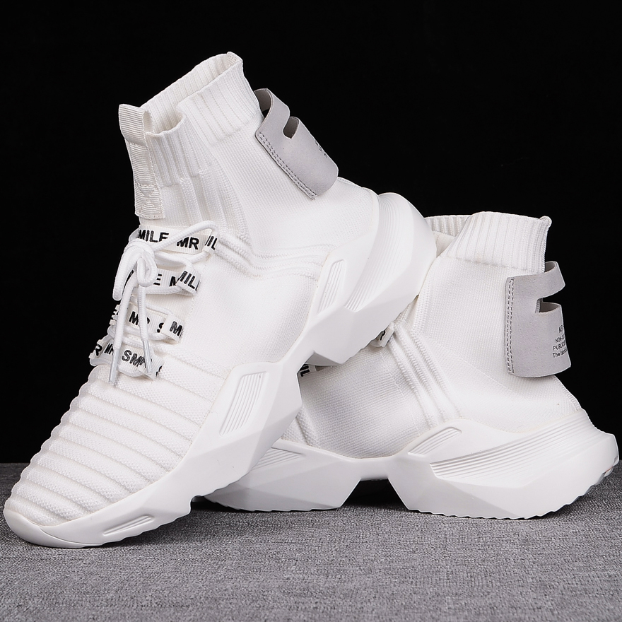 35-44 Plus Size White Black Couple High Top Platform Sneakers Women Men Knitted Casual Shoes Breathable Chunky Trainers 2019