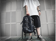 New Trend Men Hip Hop Casual Backpack Fashion Cool Street Letter Couple Bag Unisex College All-match Cloth Bags Mochila D928