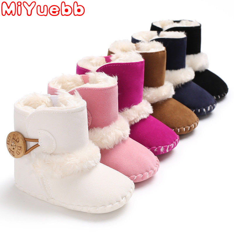Girls Shoes 2019 Children Toddler Boy Shoes Newborn Baby Girls Snow Boots Winter Warm Baby Shoes Solid Button Plush Ankle Boots