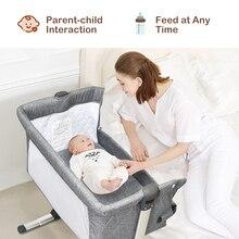 Portable Baby Bed Side Sleeper Infant Travel Bassinet Crib W/ Bag Home Grey