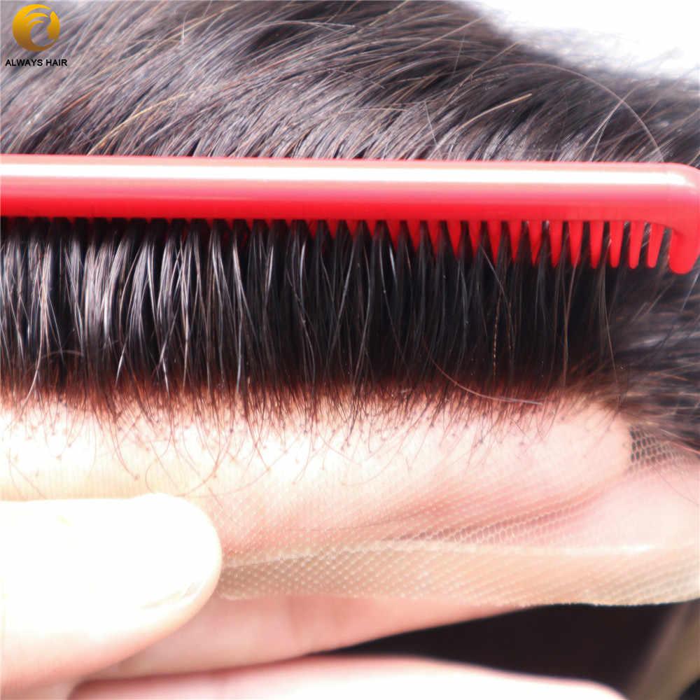 Trwała oddychająca peruka męska francuska koronka z powłoką poliestrową indyjski System ludzkich włosów mężczyzn 7 rozmiarów włosów Nuit
