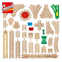 Montessori All Kinds Wooden Track Railway Toys Beech Wooden Train Track Accessories Tracks Educational Toys for Children Kids