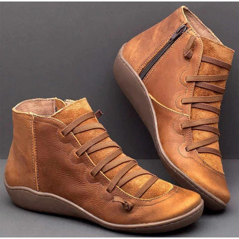 ผู้หญิงฤดูหนาวหิมะรองเท้า PU หนังฤดูใบไม้ผลิรองเท้าแบนรองเท้าผู้หญิงสั้นสีน้ำตาล Botas ขนสัตว์ 2020 สำหรับสตรี UP Botas Mujer