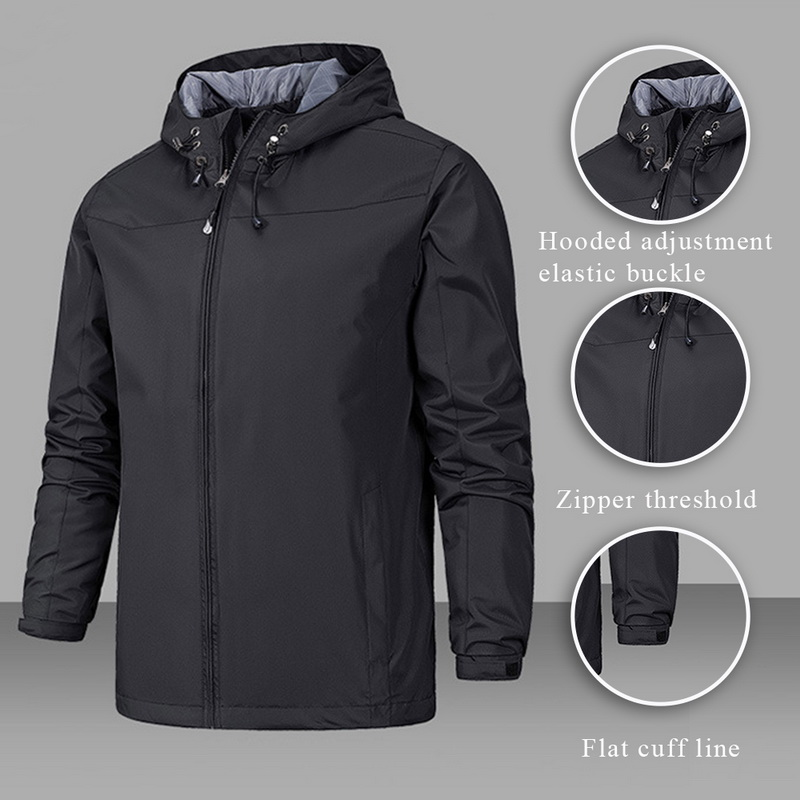 Winter Jacket Men Waterproof Coat Hooded Zipper Windproof Warm Solid Color Lightweight Fashion Male Coat Outdoor Sportswear