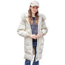Winter 90% white duck down coat jacket coat down jacket 2019New women's thick coat hooded women's long down jacket Doudoune Femm