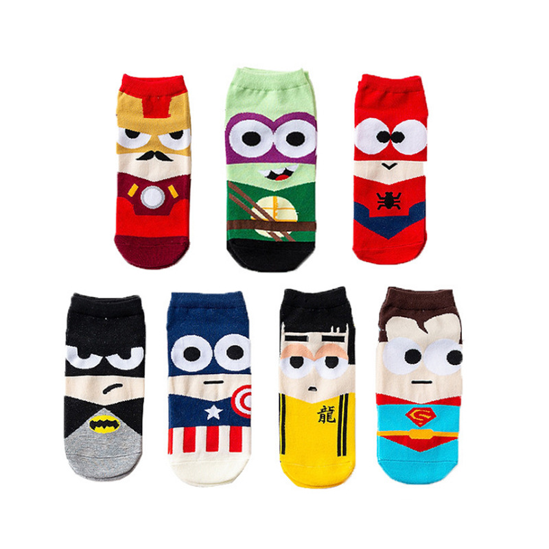 Super Hero 1 Pair Cartoon Children Teenagers Short Socks Boys Kids Men America Captain Adult Boat Sock Spiderman Cartoon