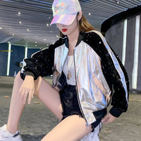 2XL PU Leather Jackets Silver/Gold Harajuku Punk Jacket Bomber Baseball Jacket 2019 Autumn New Fashion Woman Coats SA339S30