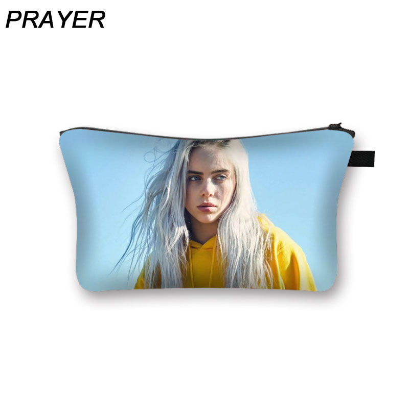 Billie Eilish Print Makeup Bags With Multicolor Pattern Waterproof Fabric Big Capacity Travel Ladies Pouch Women Cosmetic Bags