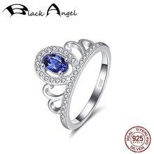 цена 925 Sterling Silver Sapphire Crown Ring For Women Fine Jewelry Valentine's Day Gift CZ Finger Rings онлайн в 2017 году