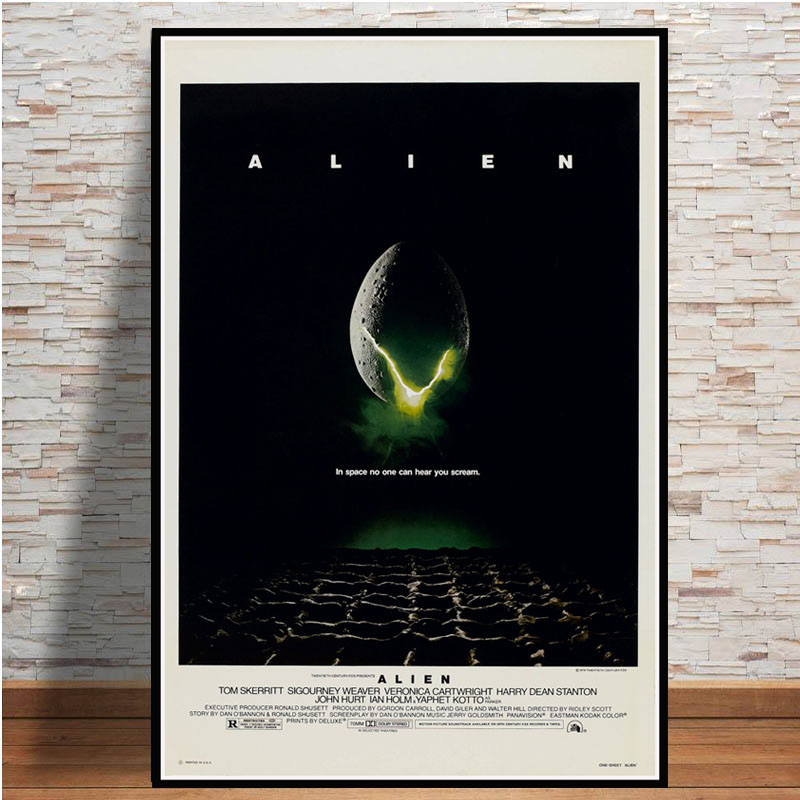 Poster Prints <font><b>ALIEN</b></font> <font><b>1979</b></font> Movie Sci Fi Horror Movie Gift Vintage Oil Painting Canvas Art Wall Pictures For Living Room Home Decor image