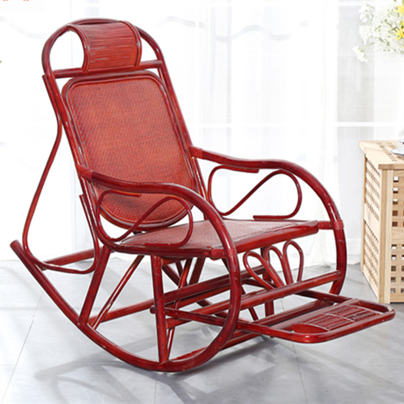 Natural Plant Rattan Rocking Chair Adult Lounge Chair Lunch Break Chair Back Lazy Leisure Balcony Home Siesta Chair
