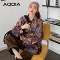 Уличная одежда AQOIA, женская блузка с длинным рукавом, повседневная свободная Дамская рубашка на пуговицах с винтажным пэчворком и принтом, о...