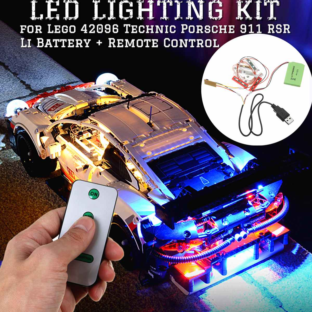 2020 NEW DIY LED Light Up Kit Lighting for <font><b>Lego</b></font> <font><b>42096</b></font> <font><b>Technic</b></font> 911 RSR Bricks Toys with Remote Control image