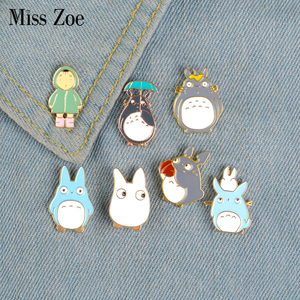 My Neighbor Comic Totoro Enamel Pins Chinchilla Brooches Shirt Bag Badge Cartoon Animal Jewelry Gift(China)