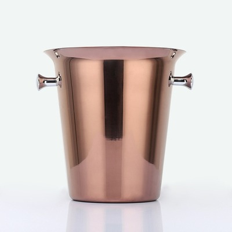 Stainless Steel Bar Ice Bucket Two Handles Champagne Bucket golden Gold Wine Bucket Spit Wine Barrel Container Ktv Club Bar tool