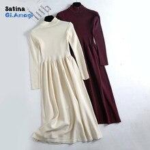 Maxi Dresses for Women Autumn Winter Knit Long Dress Womens Casual O-Neck Slim Bodycon