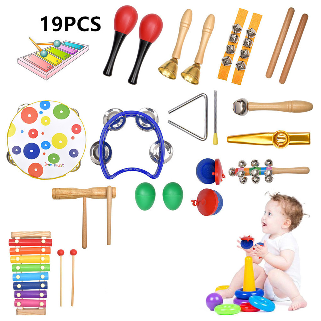 19 PCS children's Musical Toys Instruments Wooden Percussion Boy And Girl Toys Baby toys Детские игрушки Juguetes para niños