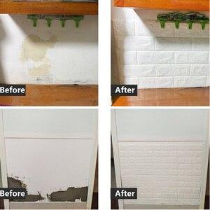 Image 5 - 3D壁のステッカーの自己粘着レンガ 3panelsリビングルームのインテリア防水壁紙キッチンテレビの背景ホーム