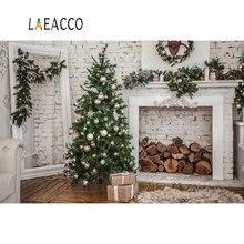 Laeacco Gray Brick Wall Christmas Tree Bauble White Gift Wood Wreath Mirror Child Photo Backgrounds Backdrops Studio