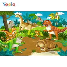 Yeele Cartoon Dinosaur Backdrop Forest  Jungle Tree Sky Kids Baby Birthday Custom Vinyl Photography Background For Photo Studio