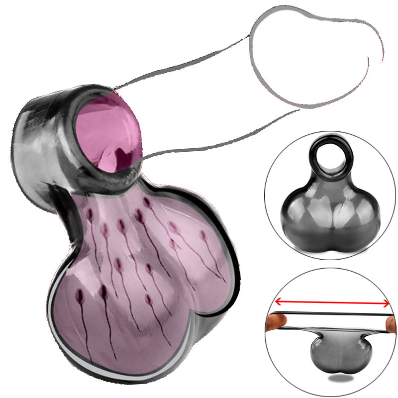 Penis Ring Scrotum Cock Ring <font><b>Adults</b></font> <font><b>Sex</b></font> <font><b>Toys</b></font> <font><b>For</b></font> <font><b>Men</b></font> Couple Scrotum Cage <font><b>Ball</b></font> Stretcher Soft Ejaculation Delay Erection Cockring image