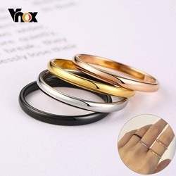 Vnox 2mm Thin Rings For Women Girl Solid Stainless Steel Minimalist Ring Set Elegant Party Tail Ring Extra Small Size #3- #10