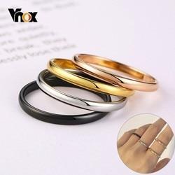 Vnox 2mm mince anneaux pour femmes fille solide acier inoxydable minimaliste anneau ensemble élégant partie queue anneau Extra petite taille #3- #10