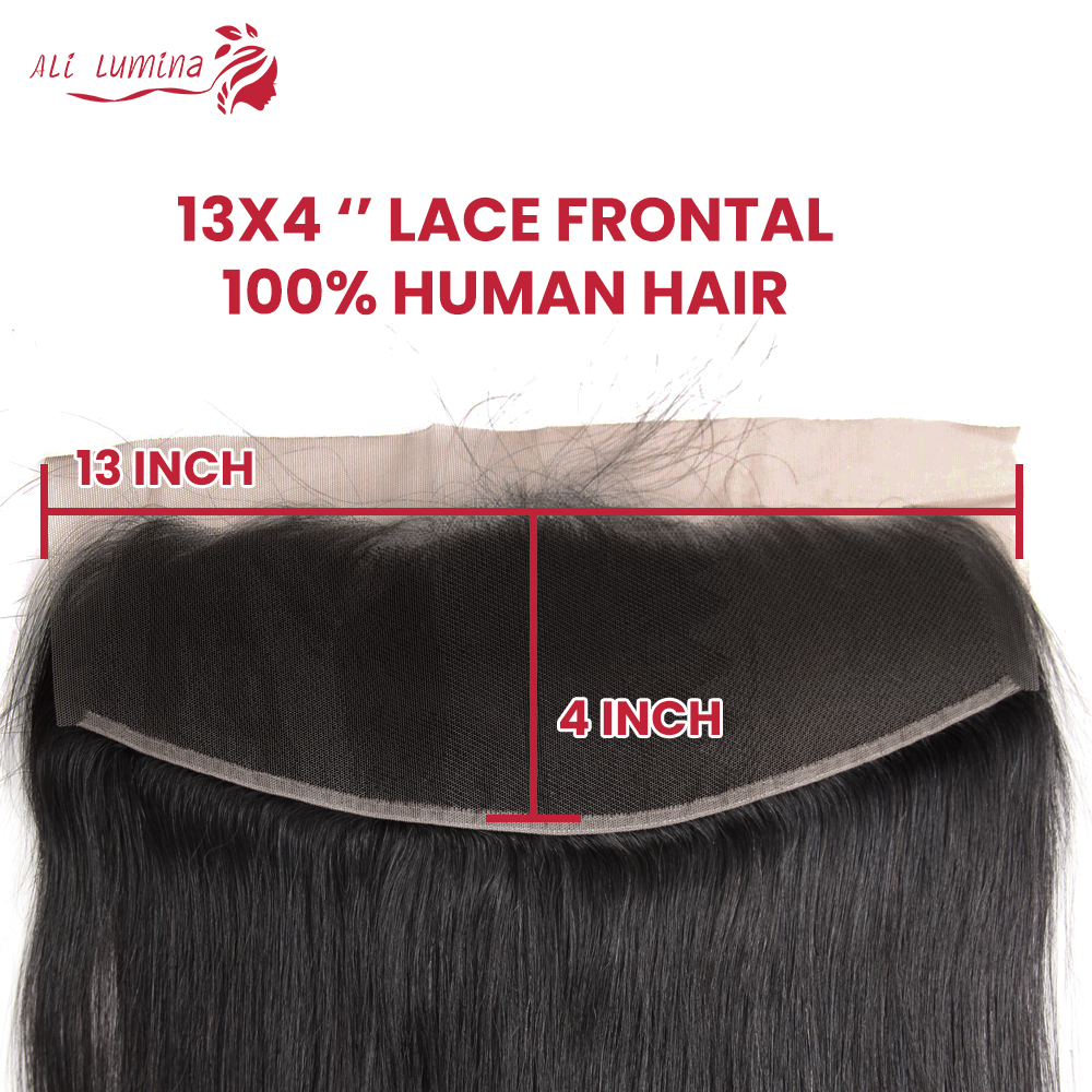 Straight  Lace Frontal Closure 13x4 Swiss Lace 100% Human  Hair Natural Hairline 4X4 Lace Closure 4