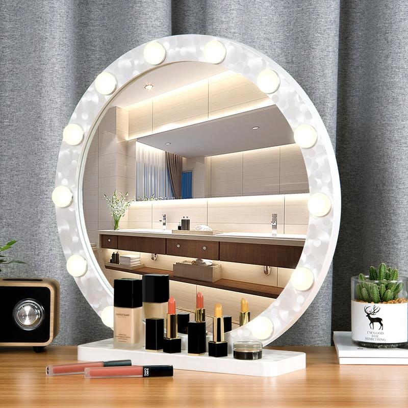 Runde große make up spiegel mit licht led professionelle desktop eitelkeit spiegel HD live füllen licht prinzessin stil spiegel mx12291632-in Dekorative Spiegel aus Heim und Garten bei AliExpress - 11.11_Doppel-11Tag der Singles 1