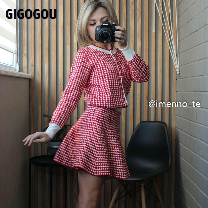 GIGOGOU Houndstooth-minifalda para mujer, chándales de estilo coreano, conjuntos de Falda plisada para mujer, suéter de punto, Top