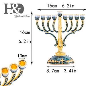 Image 5 - H & D 9 Takken Kaars Houder Hand Beschilderde Emaille Menorah Kandelaar Versierd Met Gouden Accent Kandelaars Thuis Bruiloft Decor