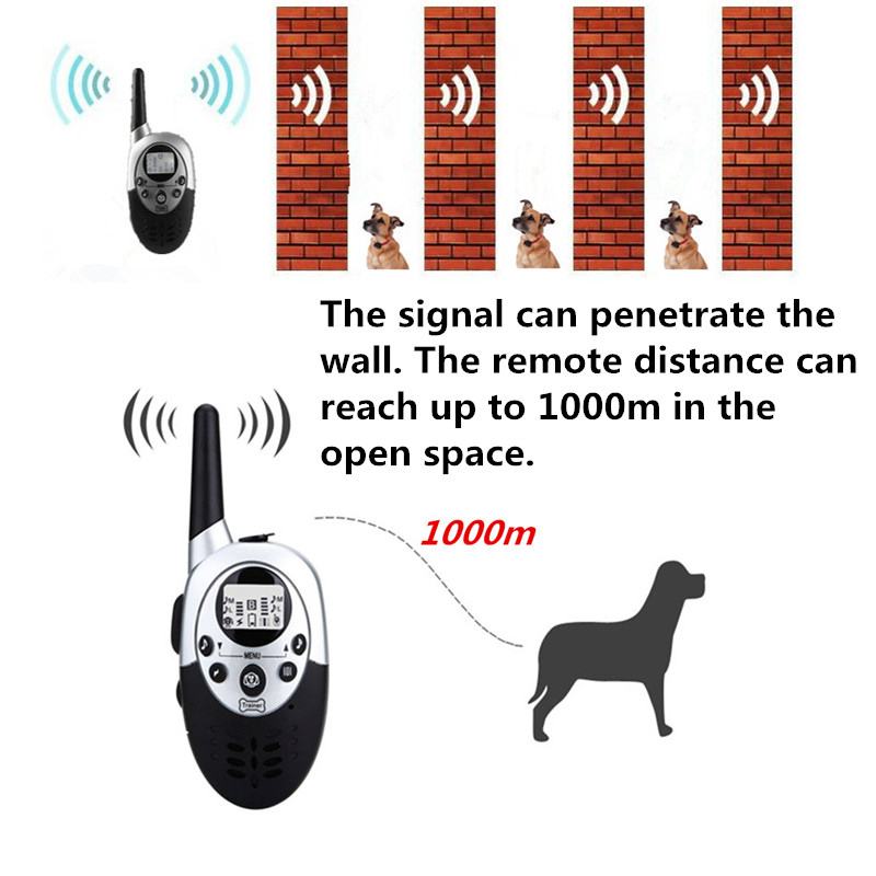 1000m Waterproof Electric Dog Training Collar with Remote Control and Rechargeable Battery 3