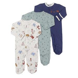 Image 2 - Pelele de 3 uds para bebé recién nacido, mono de 0 a 12m, Pelele de algodón de dibujos animados, conjunto de pijamas, ropa para bebé recién nacido, pelele para niña