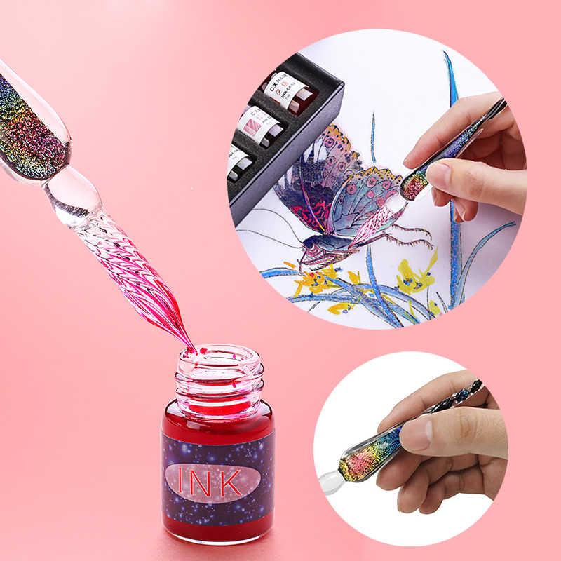 1 DIP Plus 12 Botol Tinta Warna Alat Tulis Set Kaca Pena Siswa Alat Tulis Alat Tulis Lukisan Pen Hadiah kotak