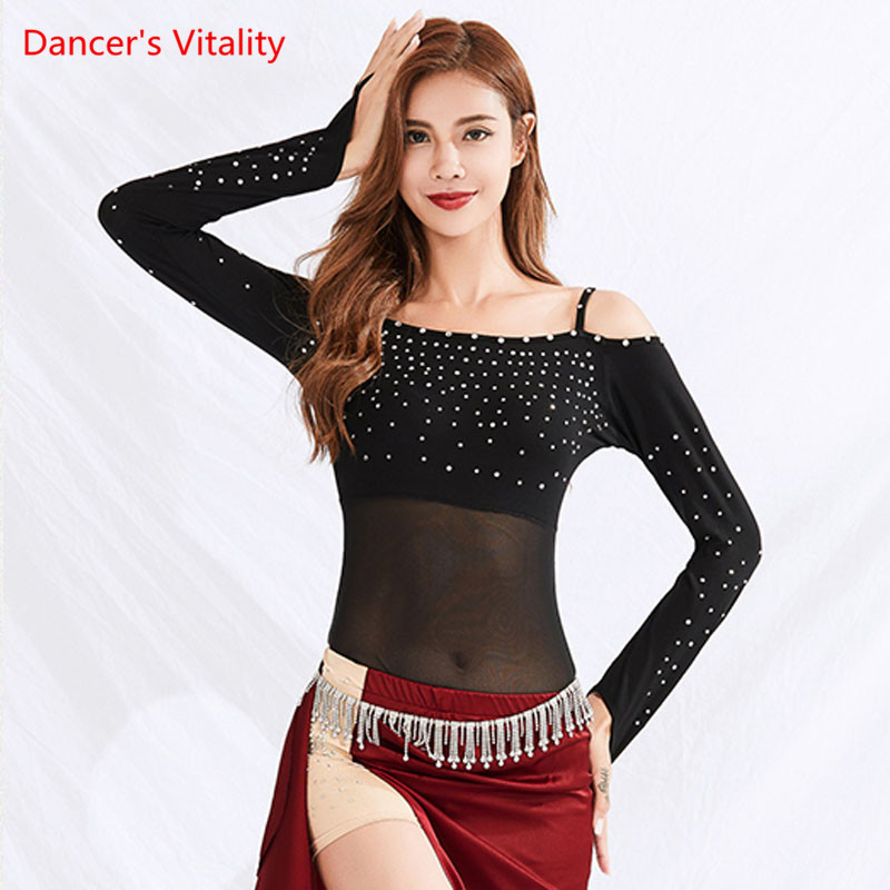 Latin Dance Clothes Female Adult Sexy Tops New  Ahinestone Rumba Samba Dancing Practice Clothing Long Sleeve Shirt