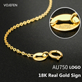 VOJEFEN AU750 18k Gold Reine Halskette, O Form Halskette, Handgemachte Link Kette Halskette, tiny Dot Halskette Edlen Schmuck
