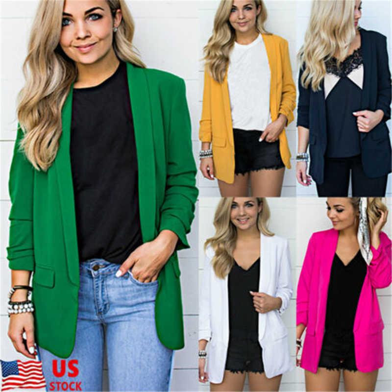 Color Women Jacket Sleeve Office Long Plus Ladies Solid Formal Work Size Blazer