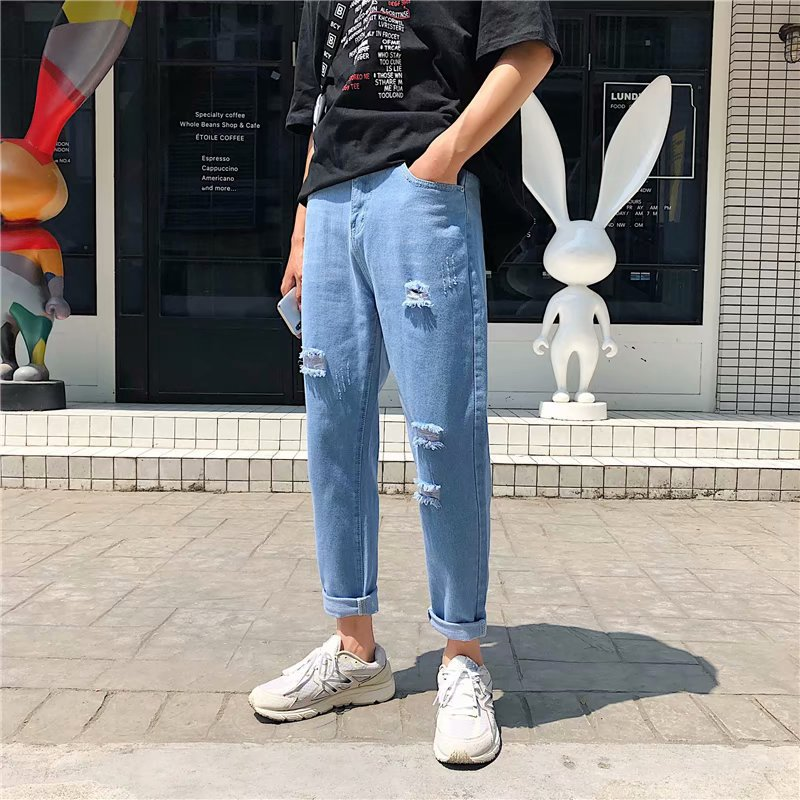 Summer MEN'S Jeans Thin Loose-Fit Light Color Pants Men's Korean-style Trend With Holes Teenager Capri Pants Summer