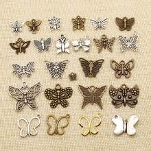 1 Piece Charms Butterfly Silver Plated Plated Pendants Making DIY Handmade Tibetan Silver Plated Jewelry HJ041(China)
